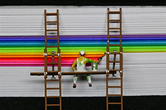"""I'm Almost Finished.... - Macro Monday - """"Redux 2018 - Mulitcolour"""" (not beck) Tags: macromonday macro monday redux2018 multicolour multicolor theme painting painter paint ladder scaffolding stripes rainbow paper"""