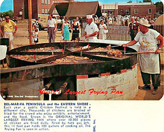 Delmarva Chicken Festival postcard (perhaps in the 1960's?) and World's Largest Frying Pan (delmarvausa) Tags: disappearingdelmarva allgone postcard vintage delmarva delmarvapeninsula maryland vintagedelmarva postcards oldpostcard delaware easternshore vintagepostcard thingsthataregone fair festival delmarvachickenfestival vintagepostcards worldslargestfryingpan delmarvachicken people cooking chickenfestival 1960s