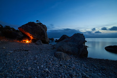 На берегу моря (zaxarou77) Tags: russia crimea sea night blue fire light dawn sunset sunrise nature landscape sony ilce a7r water rock sonyclub samyang 14mm f28
