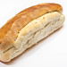 Homemade domestic bread isolated above white background