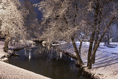 Snow in the Willamette Valley, Oregon (Bonnie Moreland (free images)) Tags: lebanon oregon snow winter willamette valley canal night long exposure