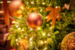 Christmas Tree Decor Ball (Bluesky251) Tags: alberta ball beautiful bright brown canada christmas decorball glow gold green interior leaves light merrychristmas reflection special tree yellow