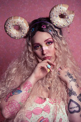 Sweets (Wurmwood Photography) Tags: nikon godox pink sprinkles dessert kawaii cute cutesie fantasy female woman women lady lovely beauty makeup sparkle glitter creative colors colorful light lighting fashion candy design designer photography model photo portrait people face eyes