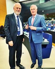 Jan Olbrycht , współsprawozdawca wieloletniego budżetu UE, z Michelem Barnier, głównym negocjatorem #UE w sprawie Brexitu. Strasbourg, Parlament Europejski, 26.03.2019
