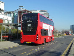 SLN 13063 - BF15KGP - OSR - SOUTHERN WAY GREENWICH PENINSULAR - TUE 26TH FEB 2019 (Bexleybus) Tags: north greenwich peninsular se10 southern way bus only lane road stagecoach london selkent adl dennis enviro 400 mmc volvo tfl route 472 13063 bf15kgp