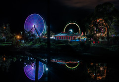 channel park reflections (pbo31) Tags: eastbay alamedacounty bayarea california nikon d810 color night dark black april 2019 boury pbo31 oakland butler amuesments fair carnival ride lightstream spinning motion traveling
