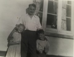 A photo of my father, myself, and my cousin Shirley outside our grandparents in Devon (daveandlyn1) Tags: peoplechildren me mydad mycousin blackwhite bw devon photoofaphoto huawei smartphone psdigitalcamera cameraphone p8lite2017