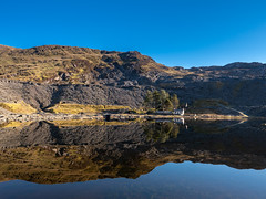 Blue sky and blue lake (Howie Mudge LRPS BPE1*) Tags: lake reflection mirrorimage bluesky water landscape nature ngc cwmorthin tanygrisiau gwynedd wales cymru uk travel adventure panasonic panasonicg9 microfourthirds mft m43