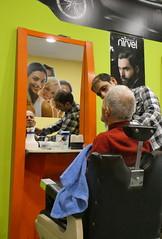 Barbershop (Marlis1) Tags: barber tortosacataluñaespaña marlis1 peoplewatching reflection spiegelung panasonictz91