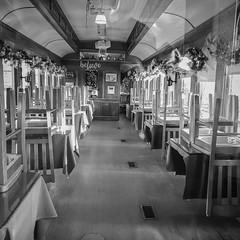 Quiet Club Car (Explored) (lclower19) Tags: iphone steamingtender palmer massachusetts black white tables train explored