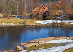 Springtime Scenery (bjorbrei) Tags: water river stream reflections shore rivershore snow spring springtime duck oldbuildings brick frysja kjelsås akerselva akerriver oslo norway brekkedammen