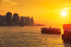 Star ferry at sunset (Patrick Foto ;)) Tags: architecture asia background boat building business china chinese city colorful concept copyspace cruise cruiseship destination evening famous ferry harbor harbour hong hongkong kong kowloon location modern morning ocean orange passenger place popular port sea ship skyline sunbeam sunlight sunrise sunset tourism transportation travel trip vessel victoria hk
