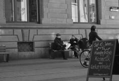 Small talk (michaelhertel) Tags: bw sw mono monochrome people street heidelberg germany fujifilm xe3
