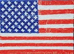 Bead Flag (*Sally M*) Tags: 2019 jan red white blue bead mosaic flag