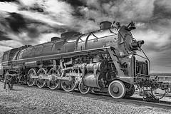 Steam Engine #4501 - IMG_0176-3 (3Bs7Gs) Tags: frisco baldwinlocomotiveworks steamengine4501 stlouissanfranciscorailwaycompany americana ridingtherails trainengines monochrome blackandwhitephoto