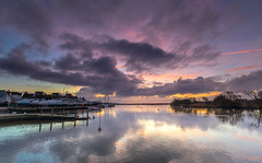 Quayside Dawn Clouds (nicklucas2) Tags: seascape harbour christchurch quay water cloud reflection boat