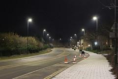 Night Shoot ,53 (doojohn701) Tags: streetlighting vegetation trees road deserted sidewalk pavement dusk dark distance sky buildings bexleyheath uk