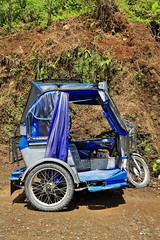 Blue-grey tricycle on Mayoyao-Alfonso Lista-Isabela road. Banaue town-Ifugao province-Luzon-Philippines. 0082 (rweisswald) Tags: motortricycle publictransportation motorbike sidecar autorickshaw publicutility vehicle taxi forhire passengertricycle trike covered roofed enclosed colorful colorist multicolored manycolored particolored motley painted grey blue concretefloor metal metallicframe structure wheel windshield headlight tire curtain parked stopped curb outofservice notworking mountainslope roadside roadtrench ditch mayoyaoroad alfonsolistaroad isabelaroad bocosbarangay banauemunicipality ifugaoprovince cordilleraregion luzonisland philippines