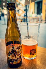 A Bottle of Amber Fruit Beer by  Birra & Blues - Valencia (Olympus OM-D EM5-II & M.Zuiko 17mm f1.2 Pro) (1 of 1) (markdbaynham) Tags: valencia spain city ciutat citybreak citylife spainish spainishcity espana espanol olympusomd omd olympusmft olympusem5 em5 em5ii omdem5 em5mark2 oly olympus mft valencian valenciana mirrorless micro43 microfourthird microfourthirds m43 m43rd em5mk2 mzuiko zuikolic 17mm f12 prime primelens amberbeer beer craftbeer cerveza birra birraandblues pub urban urbanlife vlc em5markii cityscape olympistas spanish fixedlens