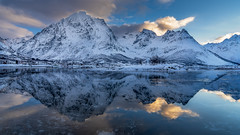 Two worlds - zwei Welten (ralfkai41) Tags: schnee norwegen landscape winter see felsen lofoten berge outdoor lake natur rocks lofotenislands reflection mirroring water snow reflexion spiegelung wasser norway reflektion nature landschaft mountain