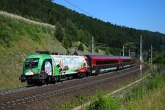 1116 159, rj 797 ( Klagenfurt > Flughafen Wien ). Kolbnitz (M. Kolenig) Tags: 1116 150jahrebrennerbahn tauernbahn wald baum railjet