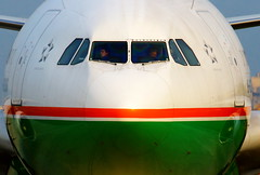 """""""Cleared for takeoff..."""" EVA Air Airbus A330-302 B-16336 (Manuel Negrerie) Tags: b16336 eva br tsa closeup a330 design cockpit pilots flying travel taipei taiwan airlines asia airliners jetliners technology plane fuselage canon photography evaair evergreen aviation transport sight sunset light"""