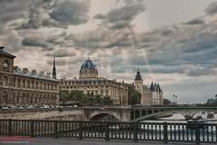 View  of palais de la Cité from Pont d'Arcole. (Kent Johnson) Tags: pontdarcole palaisdelacité paris france travel travelphotographer clouds architecturalphotography fujifilmxt1 xf35mmf14r 1600adjcese2bf4814