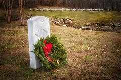 Heartfelt Remembrance (jmhutnik) Tags: headstone wreath january dunbar westvirginia veteran ruleofthirds graves cemetery depthoffield ribbon honor grass stones brook