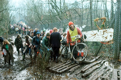 Greenham Common Base Action 1 (hoffman) Tags: airforce army base bicycle bike camp cruise cycle demonstration female fence horizontal lady missile mud nuclear peace protest snow usaf winter woman women davidhoffman wwwhoffmanphotoscom berkshire uk