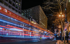 phelan building guest (pbo31) Tags: bayarea california nikon d810 color february 2019 boury pbo31 sanfrancisco city urban downtown night dark black lightstream motion traffic roadway marketstreet red infinity bus muni blur man