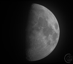 59.5% Hazy First Quarter Moon [2019.02.13] (1CM69) Tags: 1cm69 750d as3 astrophotography autostakkert bishnym bishopsnympton byeos canon canon750d celestron celestroncpc925 cpc925 exiftool geosetter kjevans luna lunar lune moon photoshop pipp starizonamicrotouchautofocuser england unitedkingdom gbr