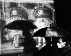 nyctophilia (gro57074@bigpond.net.au) Tags: stphotographia f28 candidphotography 2019 february candidstreet streetphotography laketowada street japan man profile tamron 2470mmf28 d850 nikon umbrella monotone monochrome mono shadows night loneliness darkness mood sadness blackwhite bw guyclift nyctophilia