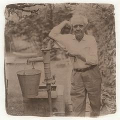 "Dad in his garden 01. (Kallitype) (sirolajos) Tags: kallitype kallitípia altprocess ""historical photographic printing processes"" ""alternativephotograpycom"" hasselblad ""kodak tmax 100"""