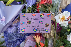 Outside the Al Huda Mosque, 21 Clyde St., Dunedin, New Zealand, 9.20 AM Mon. 18 March 2019 (mark_mcguire) Tags: dunedin dunedinnz newzealand nz alhudamosque alhudamosquedunedin mosque mosqueshooting mosqueattack christchurch christchurchnz christchurchterroristattack christchurchmosqueshooting dpsnz christchurchterrorism newzealandterrorism newzealandterroristattack streetphotography sonya7iii sony55mm canpubphoto