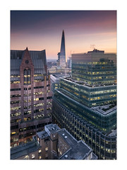 A Glimpse of the Shard (Dave Fieldhouse Photography) Tags: minstercourt london skyline shard theshard thames offices construction buildings architecture rooftops rooftop city cityscape fuji fujifilm xpro2 wideangle dusk sunset evening lights