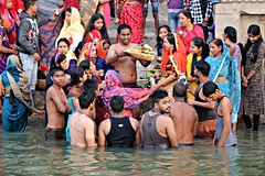 Blessings for a new begining (daniel virella) Tags: men people varanasi india ghat ganga ganges वाराणसी kashi काशी bharat uttarpradesh religion rituals sunrise morning river water blessing selfie picmonkey गंगा भारत उत्तरप्रदेश desi hinduism
