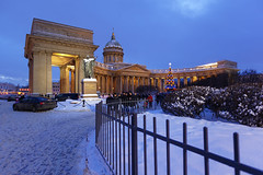 Kazan Cathedral. (fedoseenko) Tags: санктпетербург россия красота colour beauty blissful loveliness beautiful saintpetersburg art dazzling light russia park peace white небо color sky pretty view heaven mood serene colours picture architecture building history tsar outdoors night ночь orthodox church cathedral cupola domes door gate religion snow frost freeze frosty снег святы места святыни собор field holy shrines walkway winter kazan blue ef1635f28lii evening landscape nativity архитектура вечер здание 5dmarkii