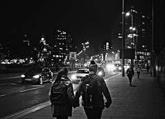 On to the bright lights BW (ronramstew) Tags: bw blackandwhite couple man woman lights liverpool merseyside