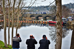 Come On Lads, It's Only A DMU! (whosoever2) Tags: uk united kingdom gb great britain england nikon d7100 train railway railroad march 2019 mirfield river calder valley weir viaduct dmu northern rail class170 water