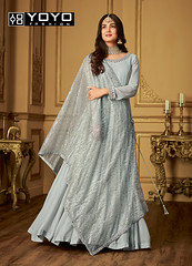 Designer Grey Anarkali Salwar Suit Online On #YOYOFashion. (yoyo_fashion) Tags: style fashion greydress dresses anarkalisuit suits shopping offers anarakali
