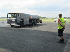 Volunteer Bill Smith supervising the parking of the Fuel Bowswer at VRT HQ, Hangar 5 Southend Airport 15.06.18 (Trevor Bruford) Tags: vrt vulcan restoration trust xl426 southend airport avro nuclear bomber cold war plane jet aircraft airplane aviation raf tin triangle delta lady royal air force fuel bowser bill smith andy wagstaff volunteers