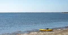 Yellow Kayak on the Shores of Tampa Bay (Jim Frazier) Tags: 201801floridatrip 2019 bay beach bluesky boat boats fl florida fortdesotopark january jimfraziercom kayak lake landscape marine maritime nautical ocean park q3 roadtrip sand scenery scenic sea seascape ships shore sound stpetersburg sunny surf tampabay vacation vessels water waterfront waterscape waves winter yellow pinellas county