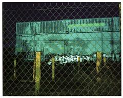 Night bollards (ADMurr) Tags: la eastside industrial night bollards wall grafitti toyo cf45 2018 4x5 lf dba228 kodak portra