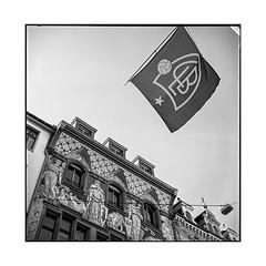 flag • basel, switzerland • 2018 (lem's) Tags: flag drapeau building immeuble football soccer bale basel suisse switzerland rolleiflex t