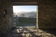 Nice view on a winter morning (Keartona) Tags: stonebarn oldbarn barn stone building lookingoutfrom winter morning derbyshire peakdistrict ladybower sunny sunlight gate footpath path derwentvalley hills hill hiking walk walking january england english countryside view
