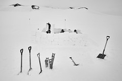 Trey Ratcliff - Antarctica - 02 (Trey Ratcliff) Tags: antarctica ratcliff stuckincustomscom trey treyratcliff adventure blackandwhite monochrome ice snow shovel wall survival landscape