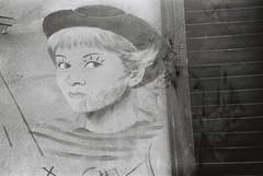 Federico + Giulietta (goodfella2459) Tags: nikonf4 cinestillbwxx 35mm blackandwhite film analog multipleexposure doubleexposure experimental abstract rimini italy murals streetart federicofellini giuliettamasina lastrada borgosangiuliano bwfp