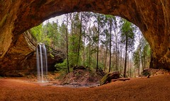 High resolution panorama of the incredible Ash Cave in Hocking Hills Ohio.  The falls at left are 100 feet tall. (arthuroleary) Tags: cave waterfall ohio midwest hike trail park outdoor nature january 2019 sony sonyphotography