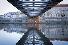 Reflection. (monikakuchno) Tags: explore light walk bridge lines symetry reflection river colour color cracow city