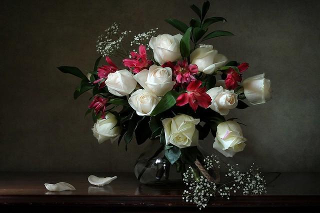 Обои розы, букет, лепестки, белые розы, гипсофила, альстрёмерия картинки на рабочий стол, раздел цветы - скачать